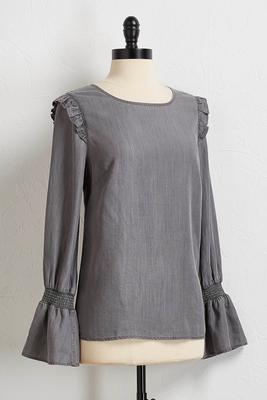 ruffled smocked sleeve top