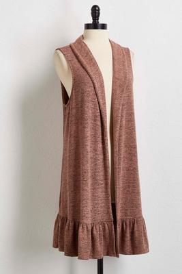 flounced hacci knit vest