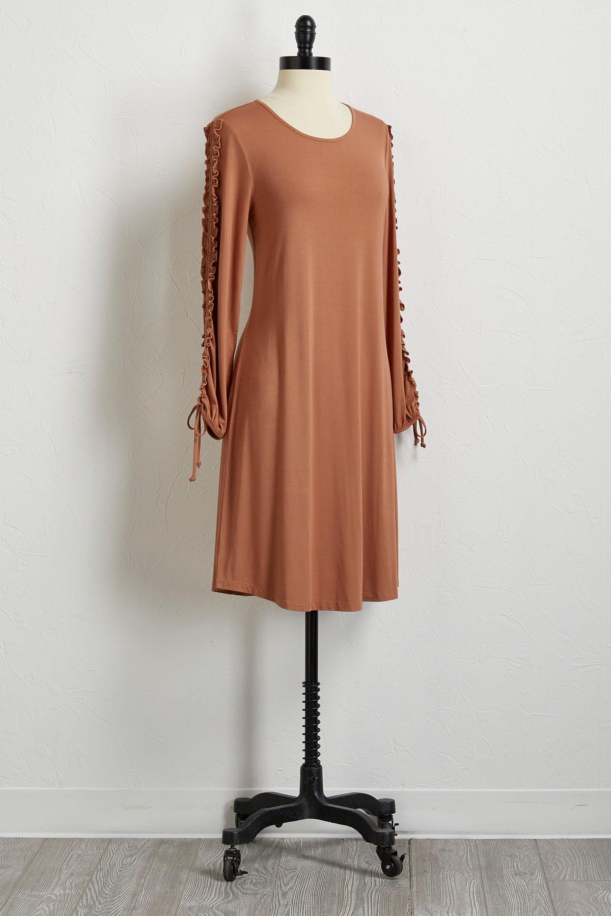 Ruffled Sleeve Shift Dress
