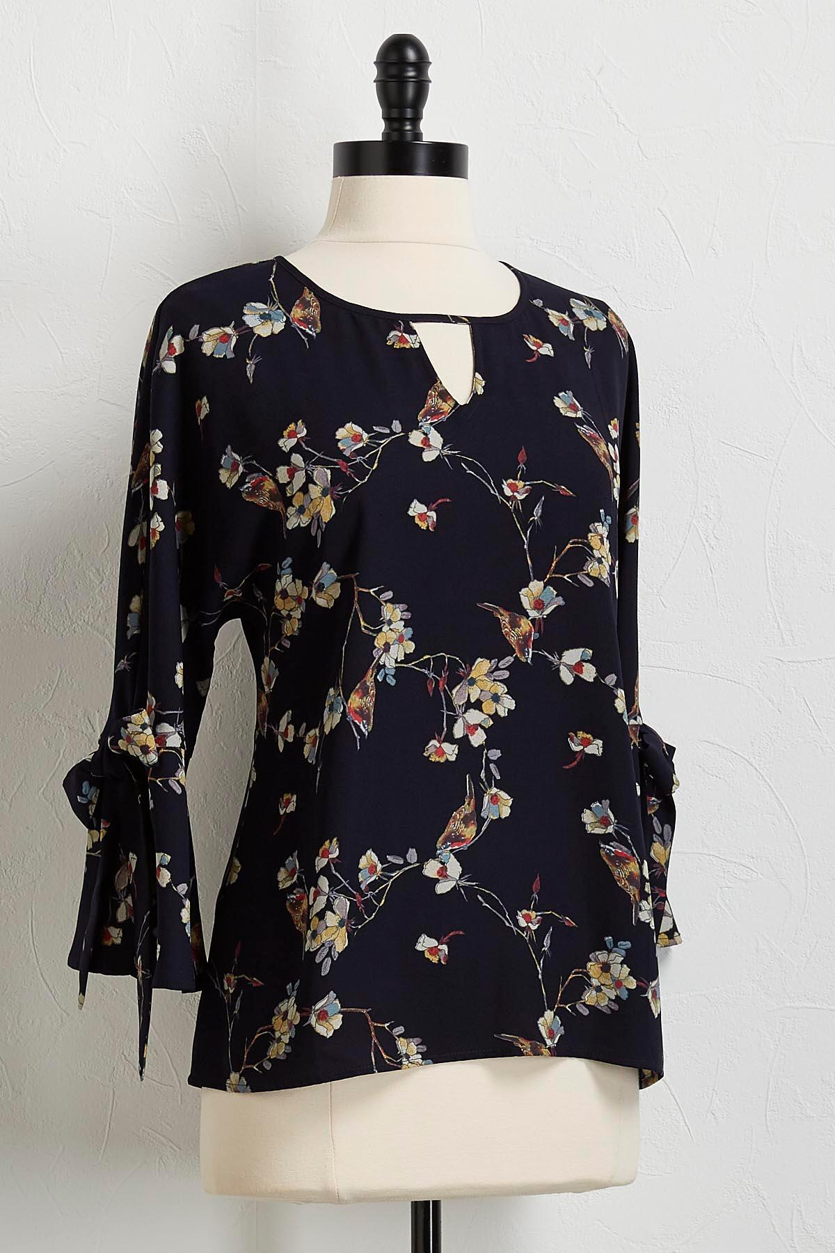 Bird Floral Bell Sleeve Top