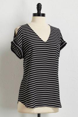 striped bare shoulder v-neck top