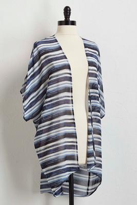 sheer striped kimono