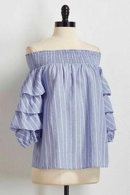 tiered stripe off the shoulder top