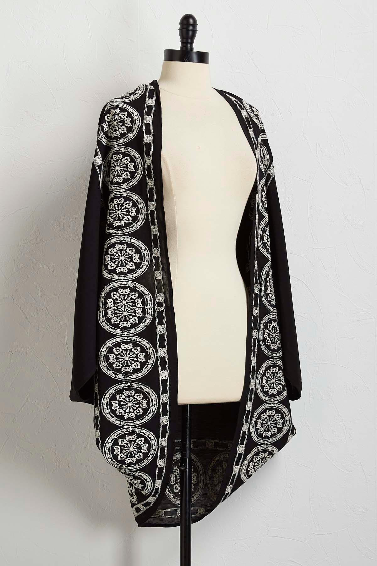 Embroidered Draped Medallion Kimono