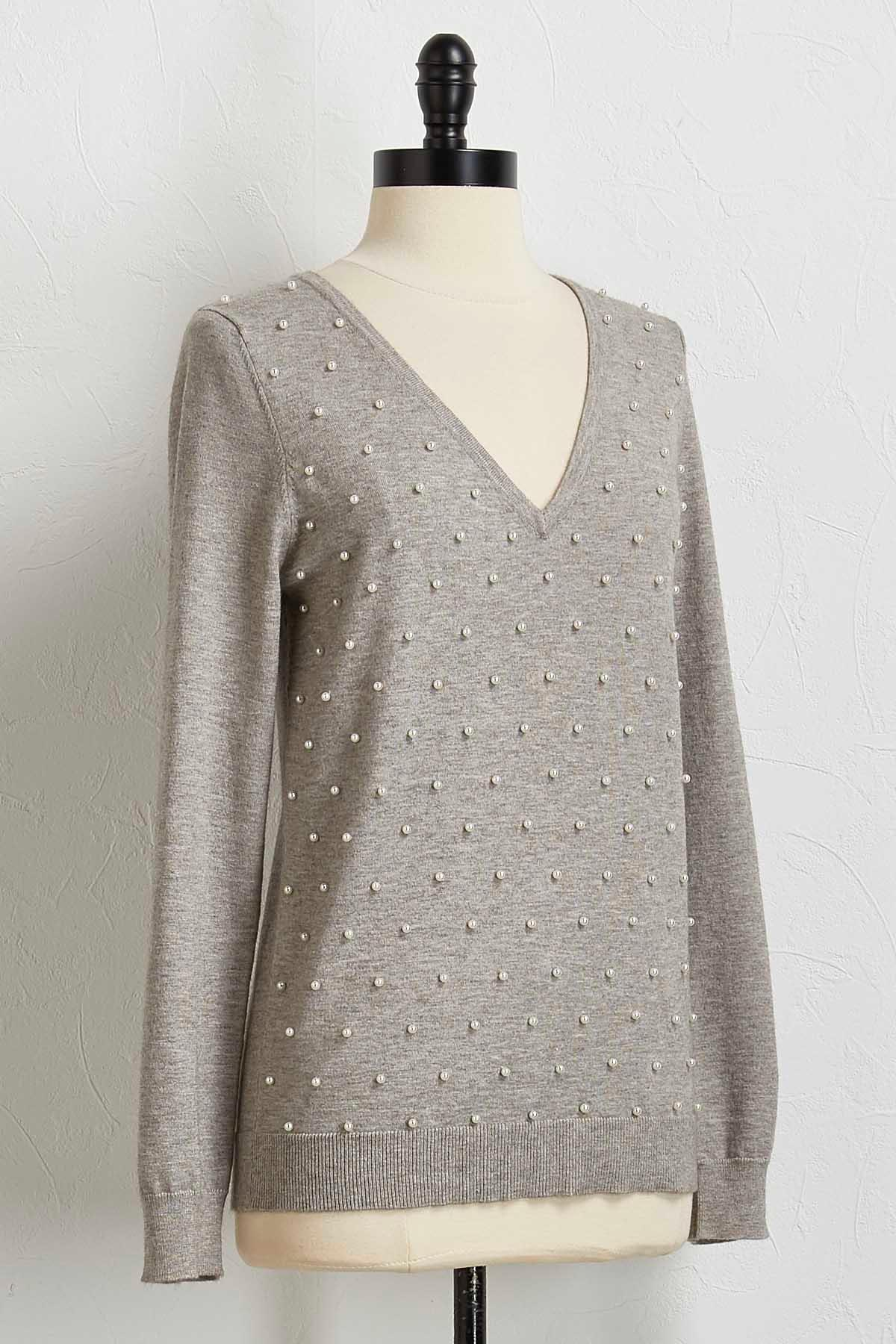 Pearl Embellished V- Neck Sweater