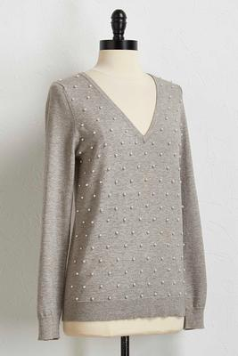 pearl embellished v-neck sweater