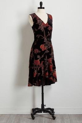 velvet burnout fit and flare dress s