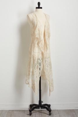 mesh crochet duster vest