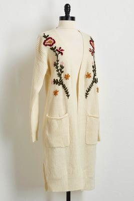 floral yarn sweater duster