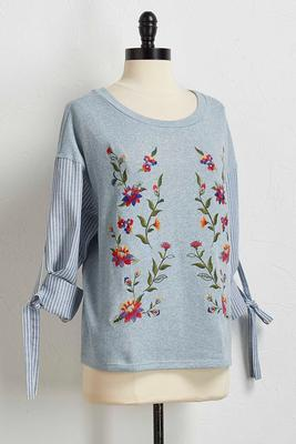 striped sleeve embroidered sweatshirt