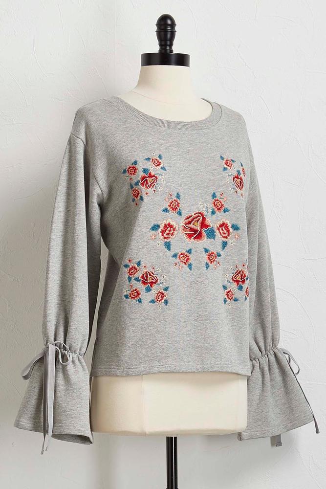 Embroidered Bell Sleeve Sweatshirt