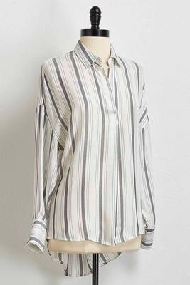 grey striped popover shirt