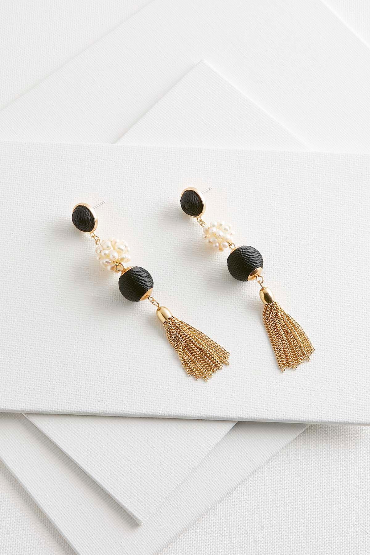 Tasseled Pearl Bauble Earrings