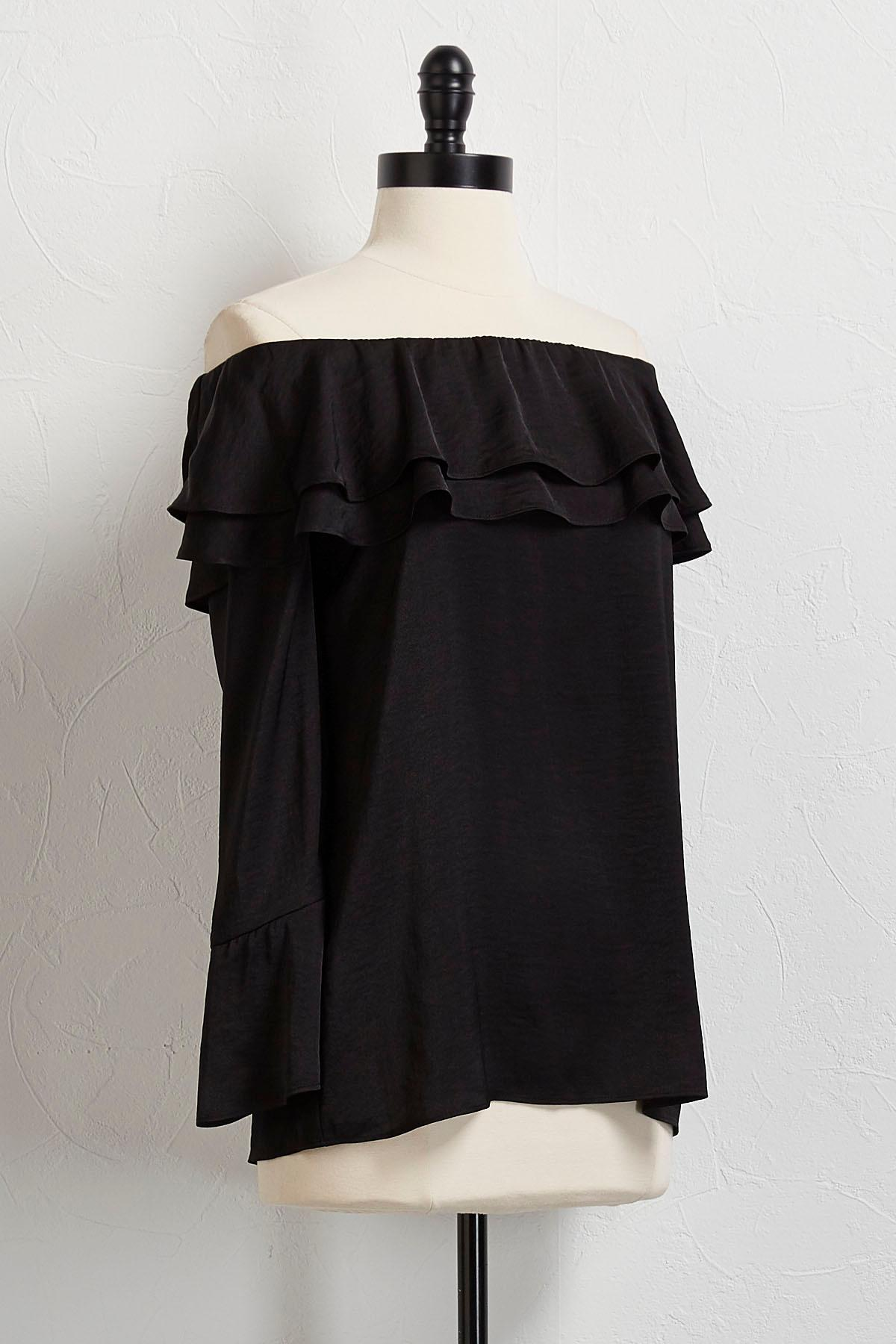 Ruffled Off The Shoulder Satin Tunic