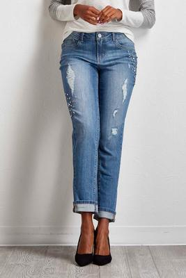 crystal embellished girlfriend jeans