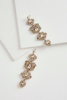 stone cluster chandelier earrings