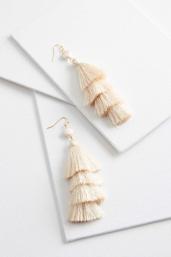Pearl Layered Tassel Earrings