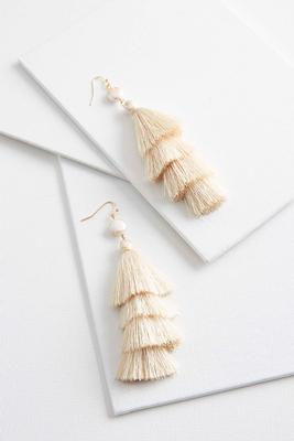 pearl layered tassel earrings
