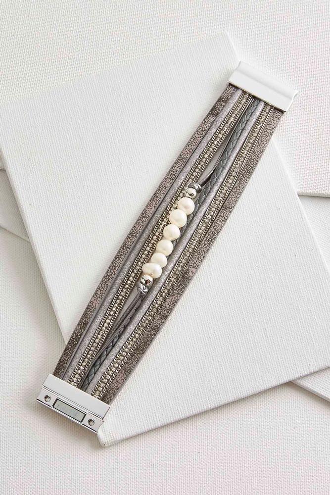Metallic Faux Leather Pearl Bracelet