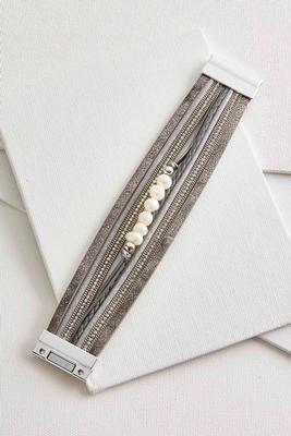 metallic faux leather pearl bracelet