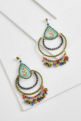 exaggerated bead dangle earrings