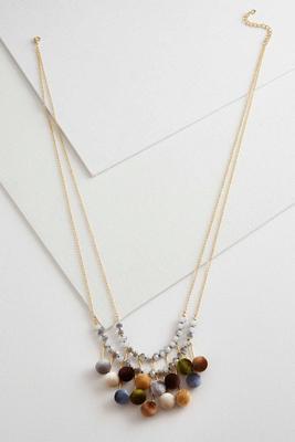 velvet pom pom cluster necklace
