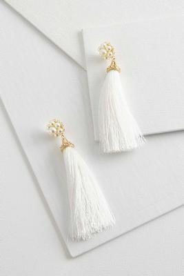 tasseled pearl statement earrings