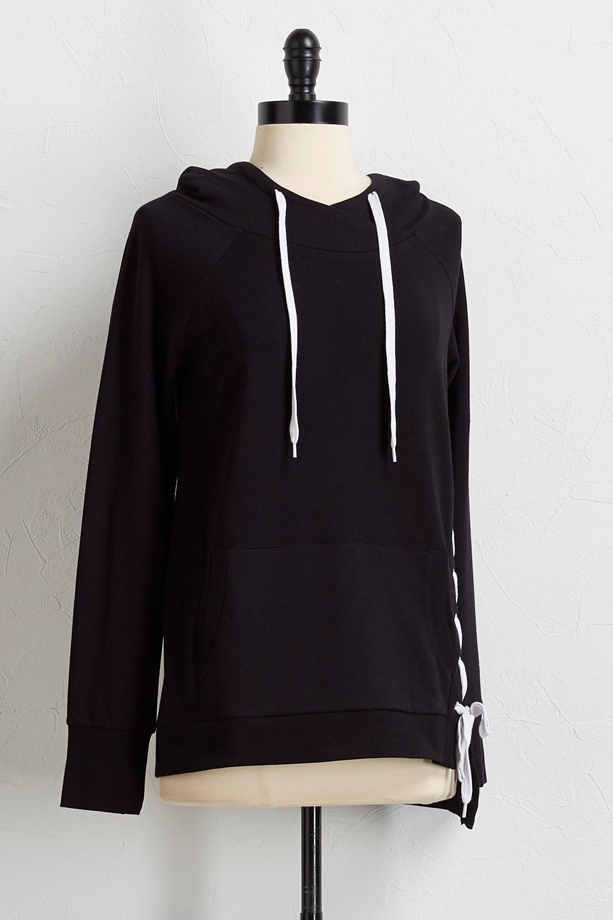 Asymmetrical Lace Up Sweatshirt