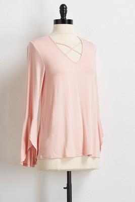 lattice neck flare sleeve top