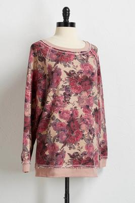 floral exposed stitch sweatshirt