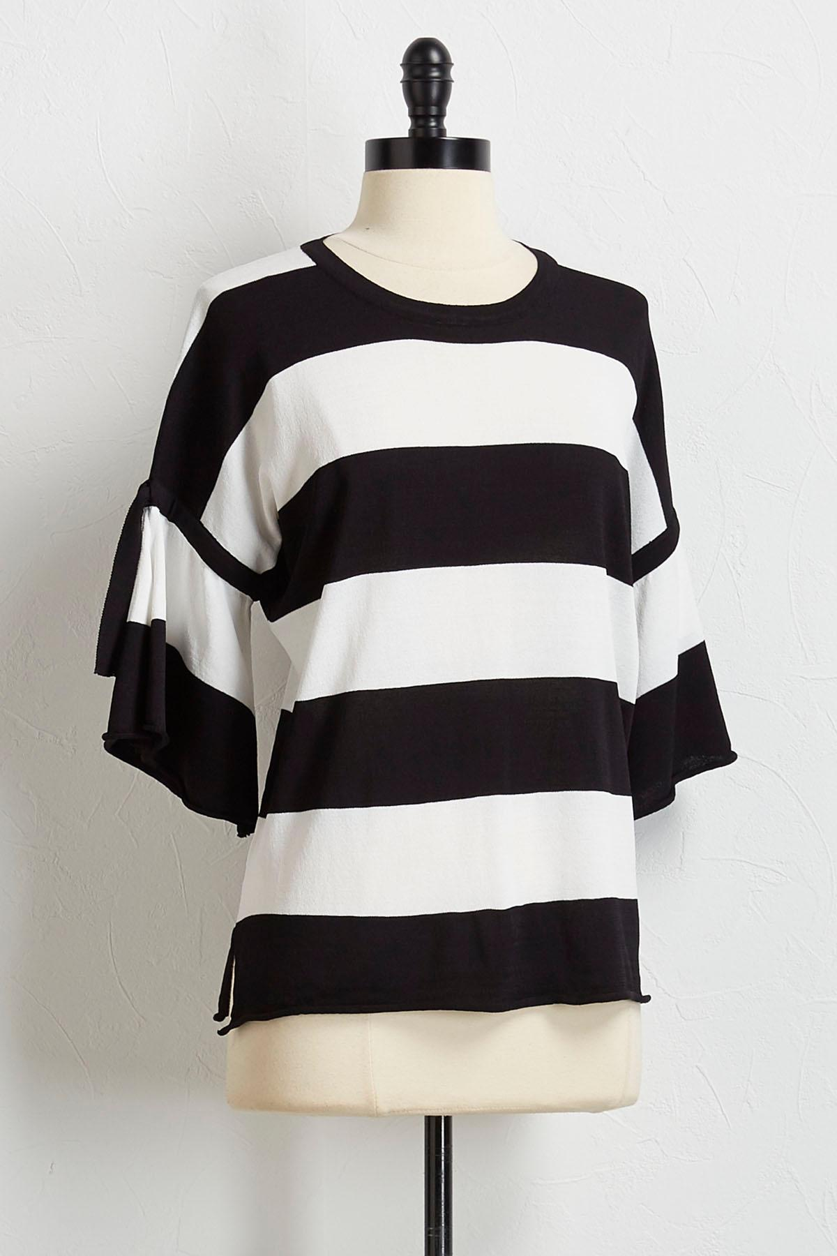 Striped Tie Flutter Sleeve Sweater
