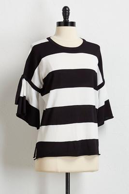 striped tie flutter sleeve sweater