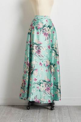 satin floral pull-on skirt