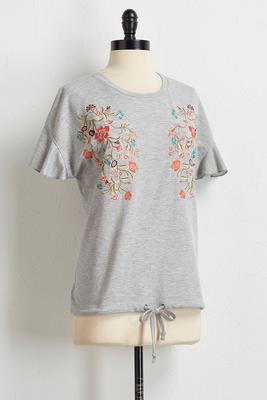 floral embroidered drawstring top