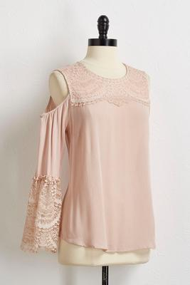 lace bare shoulder top