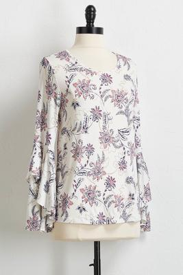 floral paisley flutter sleeve top