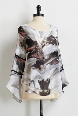 shadow print flare sleeve top