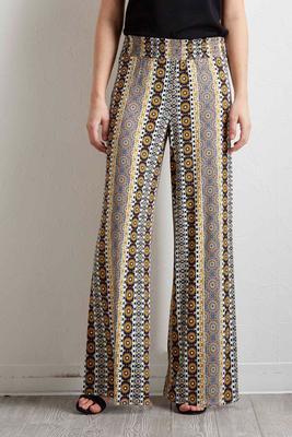 mixed print palazzo pants