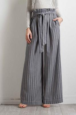 chambray striped palazzo pants