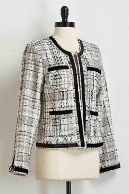 velvet trim tweed jacket