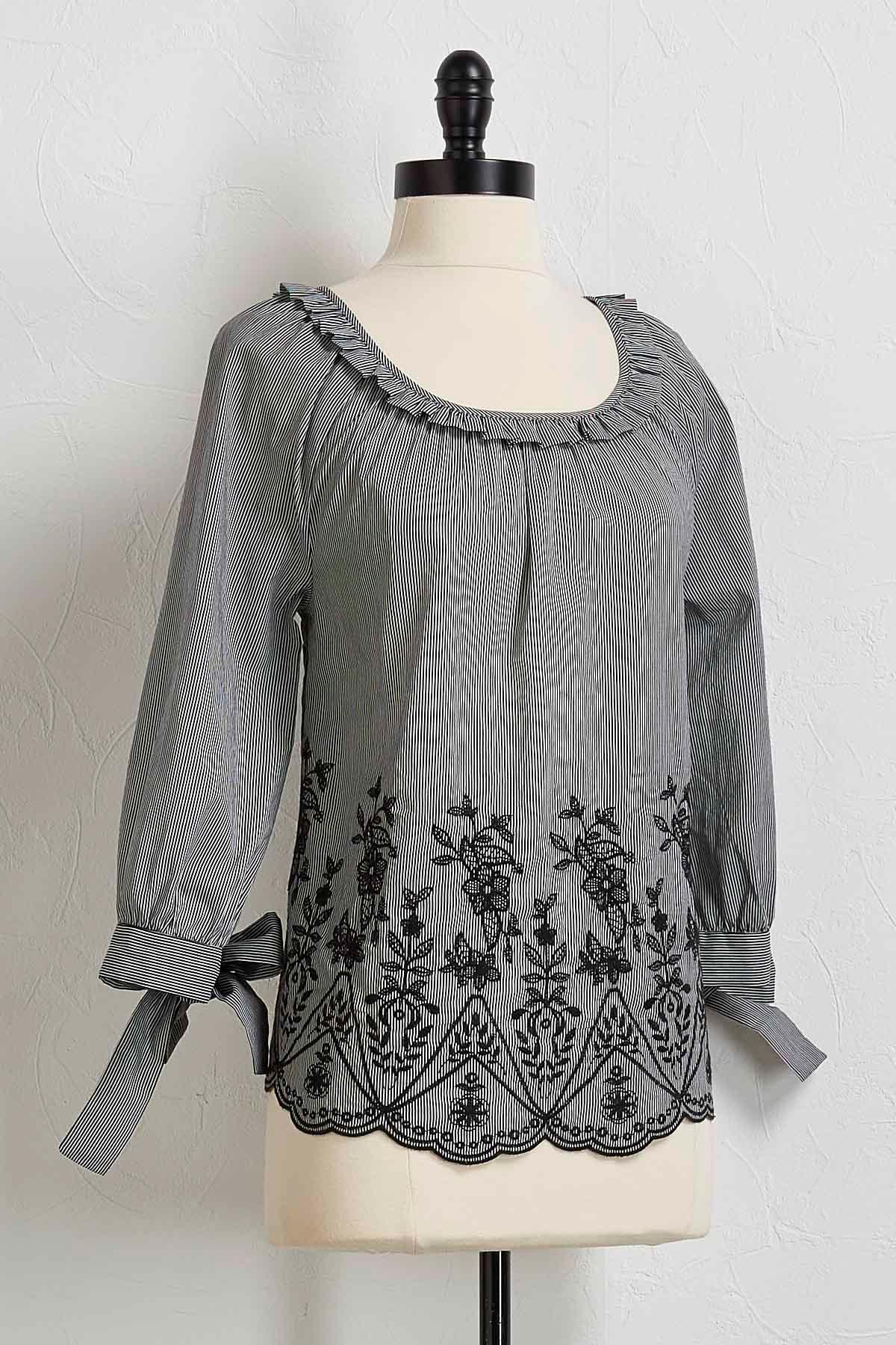Stripe Ruffled Embroidered Top