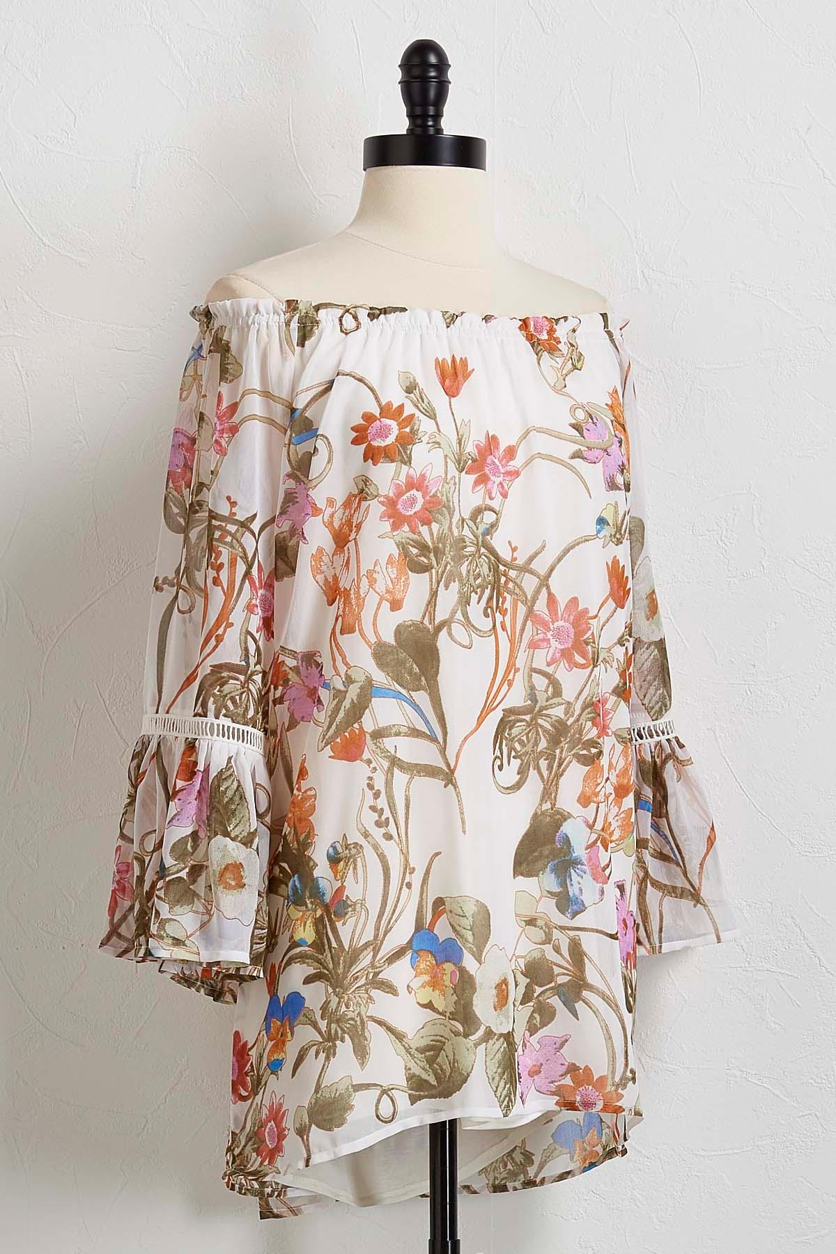 Ruffled Floral Off The Shoulder Top