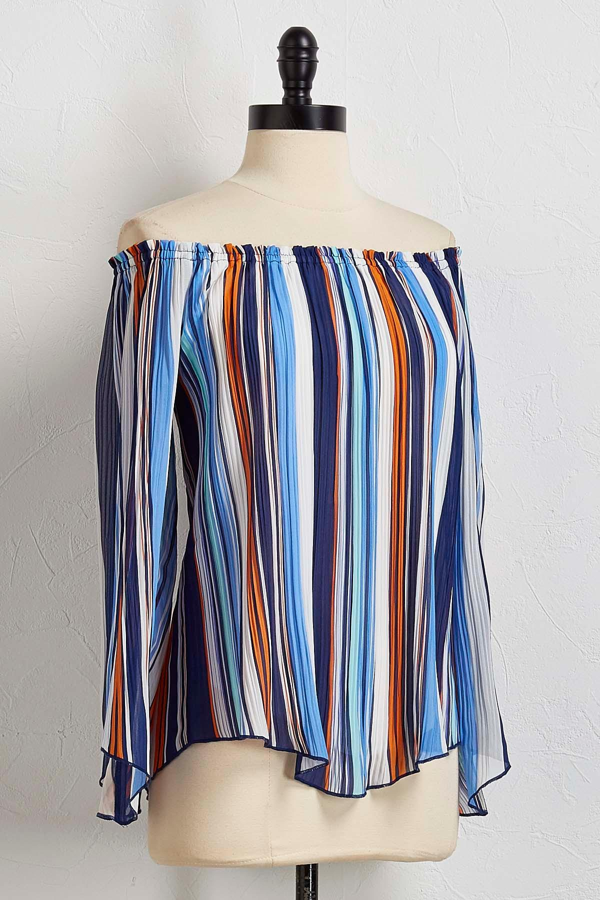 Pleated Stripe Off The Shoulder Top