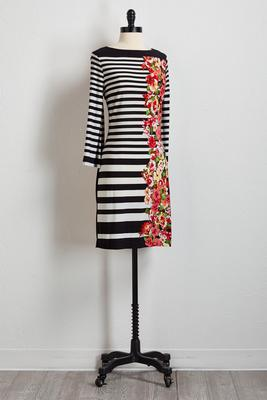 striped floral shift dress