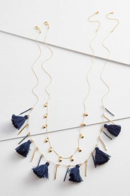 tassel bar necklace set