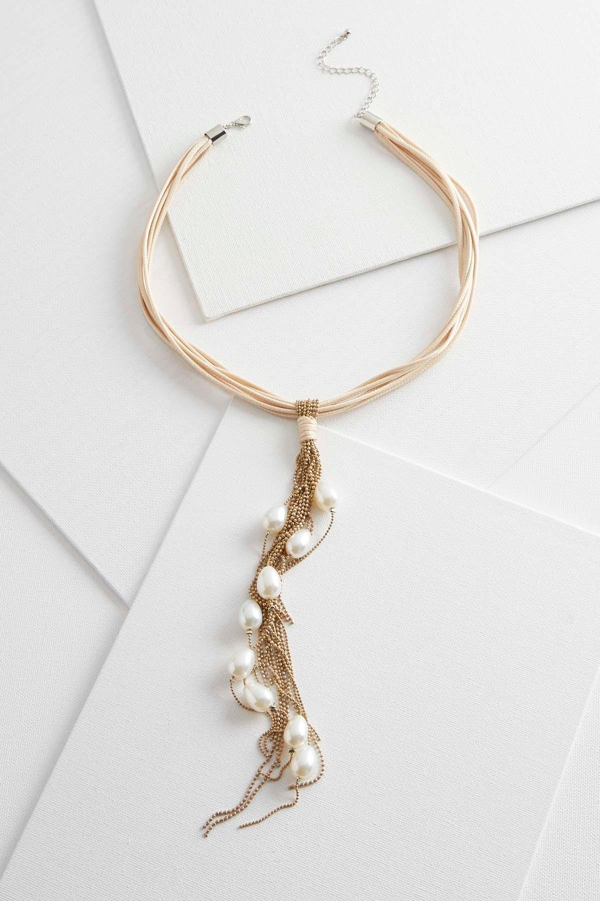 Pearl And Tassel Corded Choker