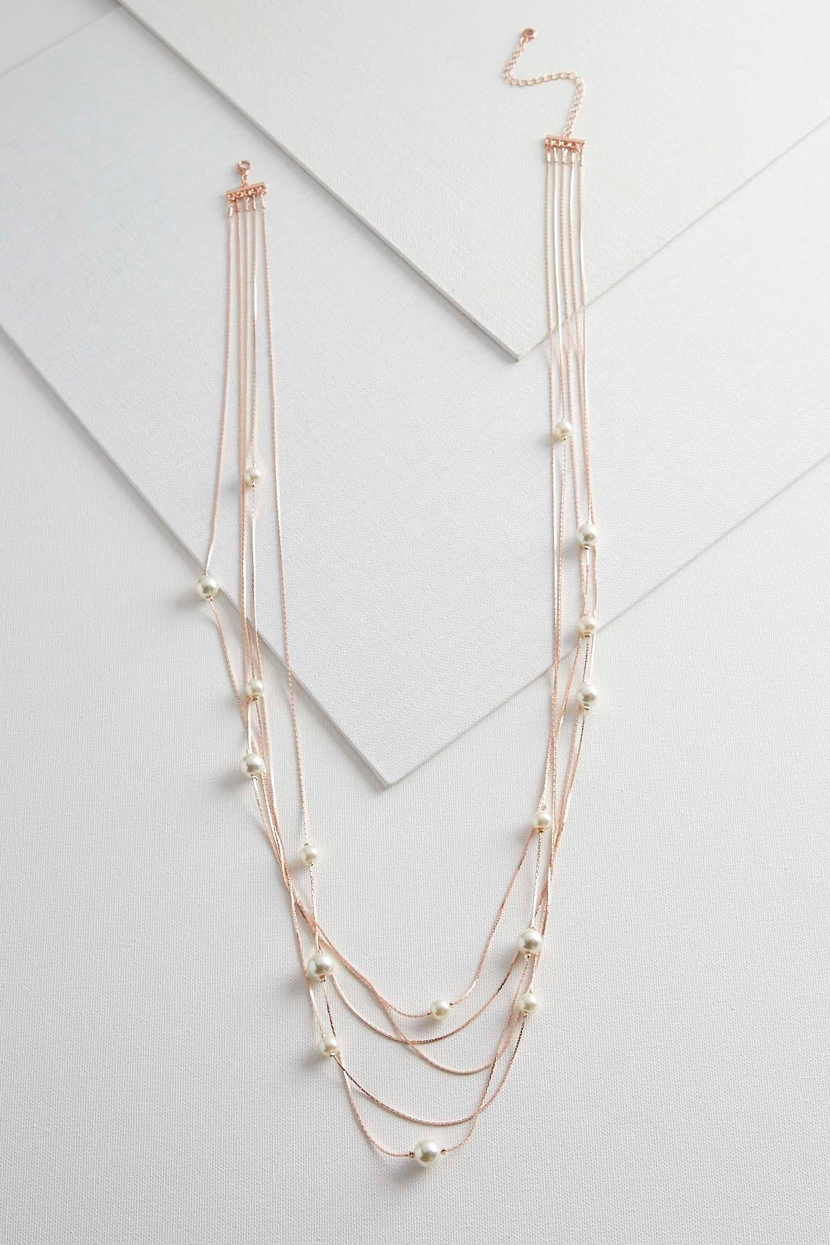 Rose Gold Pearl Station Layered Necklace