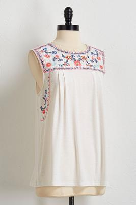 embroidered slub knit tank