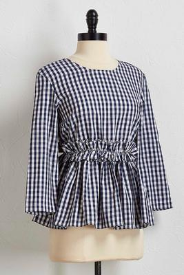 ruffled gingham babydoll top