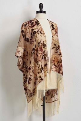 fringed burnout velvet kimono